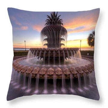 Charelston Pineapple Fountain Sunrise Throw Pillow by Dustin K Ryan