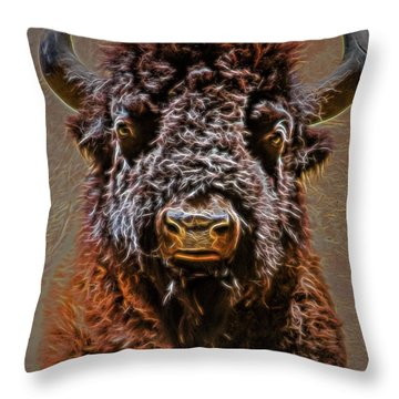 Throw Pillow featuring the digital art Charging Bison by Ray Shiu