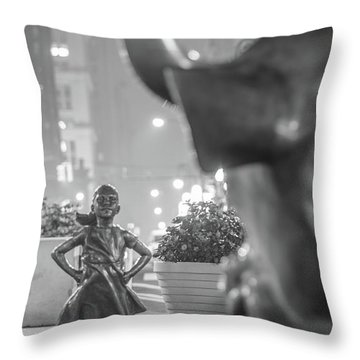 Charging Bull And Fearless Girl Nyc  Throw Pillow