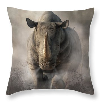 Charging Rhino Throw Pillow