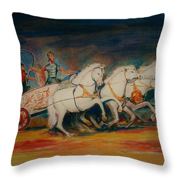 Chariot Throw Pillow by Khalid Saeed