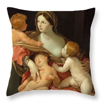 Throw Pillow featuring the painting Charity by Guido Reni