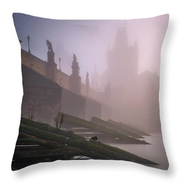 Charles Bridge At Autumn Foggy Day, Prague, Czech Republic Throw Pillow