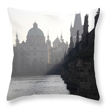 Charles Bridge At Early Morning Throw Pillow by Michal Boubin