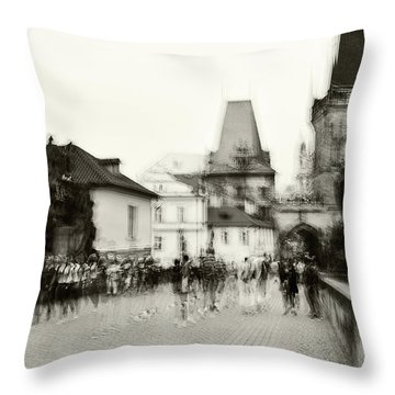 Throw Pillow featuring the photograph Charles Bridge. Black And White. Impressionism by Jenny Rainbow