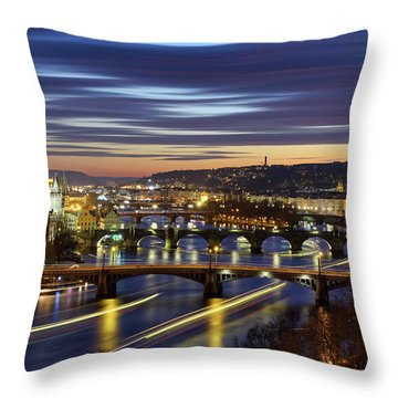 Charles Bridge During Sunset With Several Boats, Prague, Czech Republic Throw Pillow