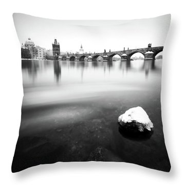 Charles Bridge During Winter Time With Frozen River, Prague, Czech Republic Throw Pillow