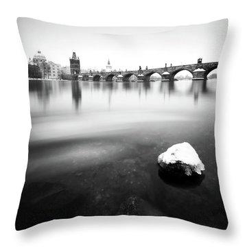 Charles Bridge During Winter Time With Frozen River, Prague, Czech Republic Throw Pillow