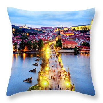 Throw Pillow featuring the photograph Charles Bridge by Fabrizio Troiani