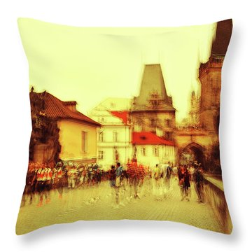 Throw Pillow featuring the photograph Charles Bridge. Golden Prague. Impressionism by Jenny Rainbow