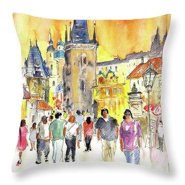 Charles Bridge In Prague In The Czech Republic Throw Pillow by Miki De Goodaboom