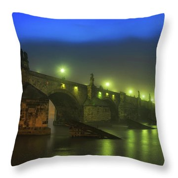 Charles Bridge Night In Prague, Czech Republic Throw Pillow