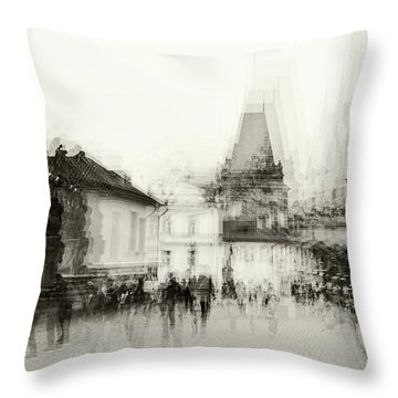 Throw Pillow featuring the photograph Charles Bridge Promenade. Black And White. Impressionism by Jenny Rainbow