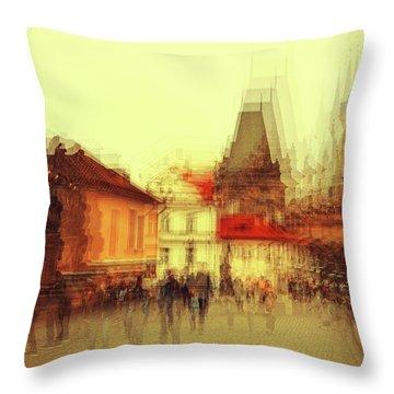 Throw Pillow featuring the photograph Charles Bridge Promenade. Golden Prague. Impressionism by Jenny Rainbow
