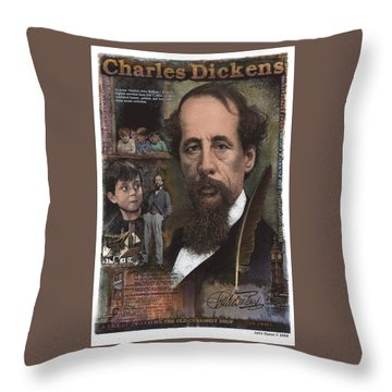 Throw Pillow featuring the mixed media Charles Dickens by John Dyess