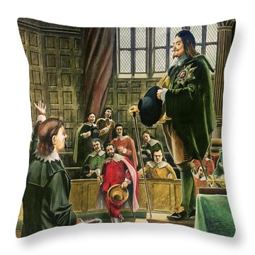 Charles I In The House Of Commons Throw Pillow by English School