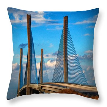 Charles W Cullen Bridge South Approach Throw Pillow