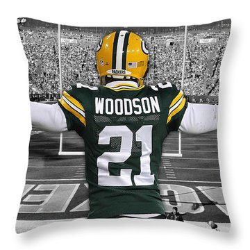 Charles Woodson Green Bay Packers Stadium Art 2 Throw Pillow