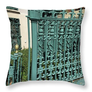 Throw Pillow featuring the photograph Charleston Aqua Turquoise Rod Iron Gate John Rutledge House - Charleston Historical Architecture by Kathy Fornal