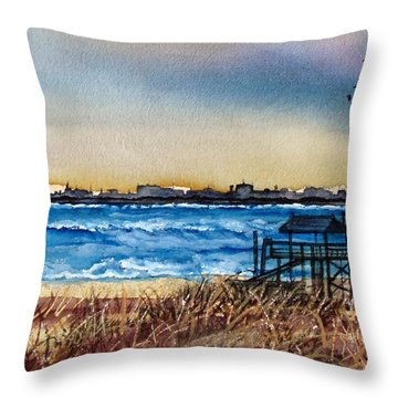 Throw Pillow featuring the painting Charleston At Sunset by Lil Taylor