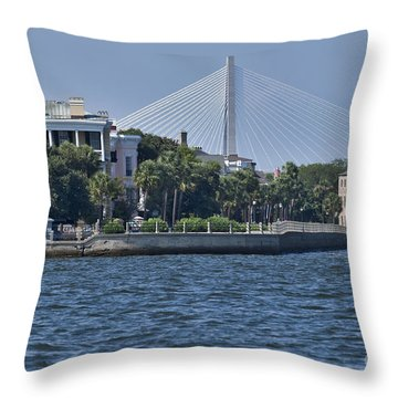 Charleston Battery Row And Bridge  Throw Pillow by Dustin K Ryan