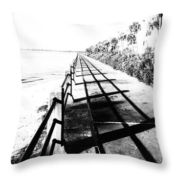 Throw Pillow featuring the photograph Charleston Battery Seawall by Alan Raasch