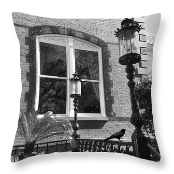 Throw Pillow featuring the photograph Charleston French Quarter Architecture - Window Street Lanterns Gothic French Black White Art Deco  by Kathy Fornal