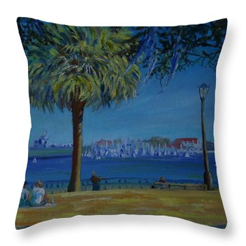 Charleston Harbor Sunday Regatta Throw Pillow