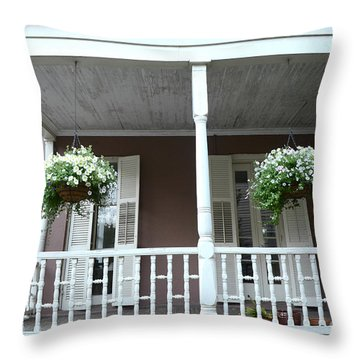 Charleston Historical Homes - Front Porches Hanging Summer Baskets Of Flowers Throw Pillow