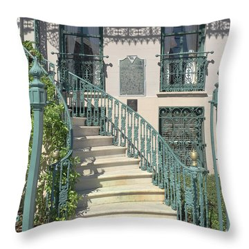 Throw Pillow featuring the photograph Charleston Historical John Rutledge House - Aqua Teal Gate Staircase Architecture - Charleston Homes by Kathy Fornal