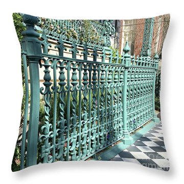 Throw Pillow featuring the photograph Charleston Historical John Rutledge House Fleur Des Lis Aqua Teal Gate Fence Architecture  by Kathy Fornal