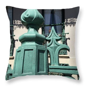 Throw Pillow featuring the photograph Charleston John Rutledge House Fleur De Lis Symbols - French Quarter Architecture Gate Posts by Kathy Fornal