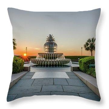Charleston Pineapple Fountain At Sunrise Throw Pillow