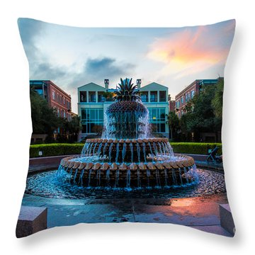 Charleston Pineapple Sunset Throw Pillow