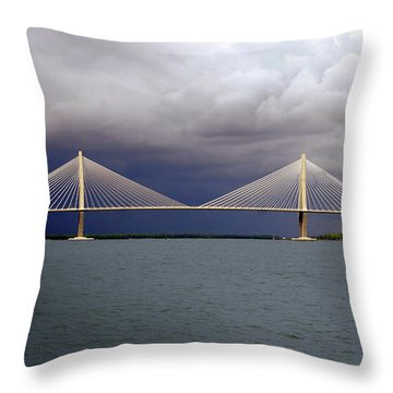 Charleston Ravenel Bridge Throw Pillow by Skip Willits