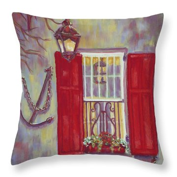 Charleston Red Shutters Throw Pillow
