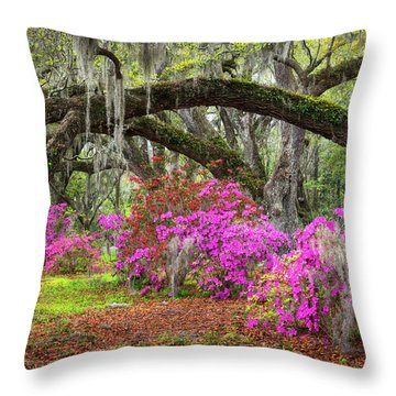 Charleston South Carolina Spring Flowers Lowcountry Landscape Photography Throw Pillow