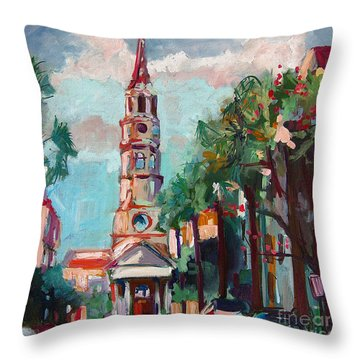 Throw Pillow featuring the painting Charleston St Phillips Church by Ginette Callaway