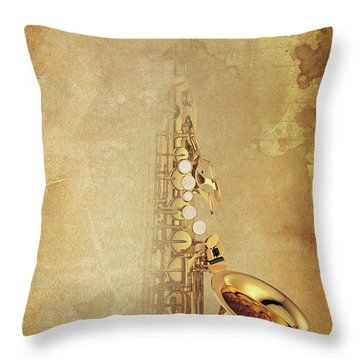 Charlie Parker Saxophone Brown Vintage Poster And Quote, Gift For Musicians Throw Pillow by Pablo Franchi