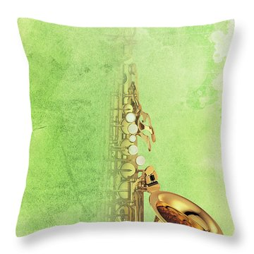 Charlie Parker Saxophone Green Vintage Poster And Quote, Gift For Musicians Throw Pillow by Pablo Franchi