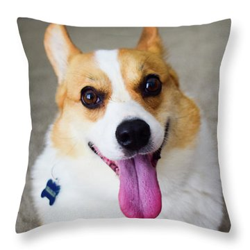 Charlie The Corgi Throw Pillow