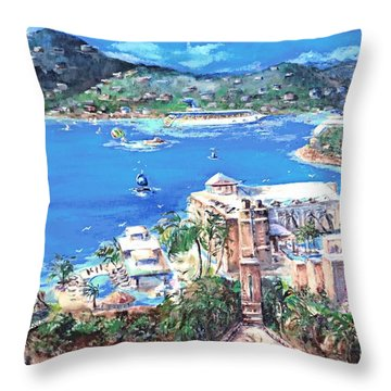 Charlotte Amalie Marriott Frenchmans Beach Resort St. Thomas Us Virgin Island Aerial Throw Pillow