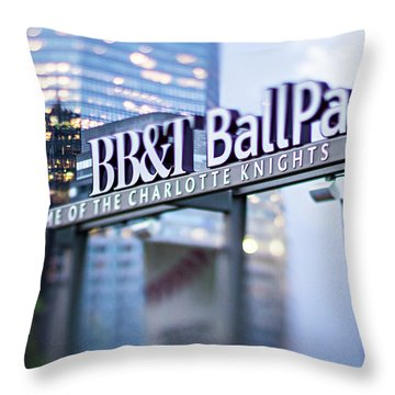 Charlotte Nc Usa  Bbt Baseball Park Sign  Throw Pillow