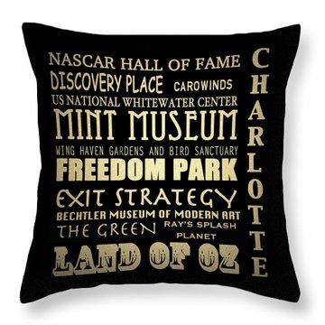 Charlotte North Carolina Famous Landmarks Throw Pillow