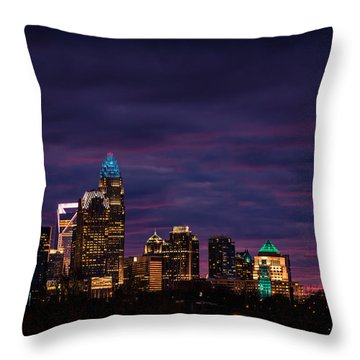 Charlotte, North Carolina Winter Sunset Throw Pillow