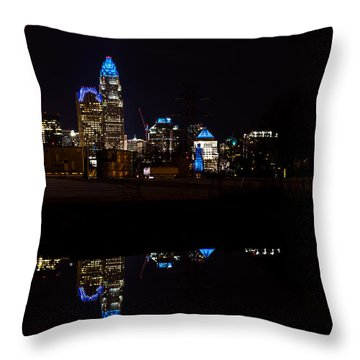 Charlotte Reflection At Night Throw Pillow