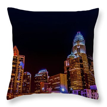 Charlotte Skyline At Night Throw Pillow