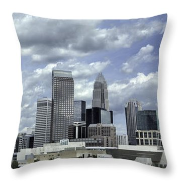 Charlotte Skyline Panorama 02 Throw Pillow