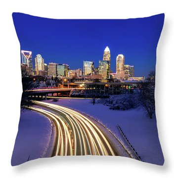 Charlotte Winter Skyline Throw Pillow