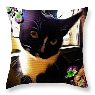 Charmed By My Beloved Cat Throw Pillow